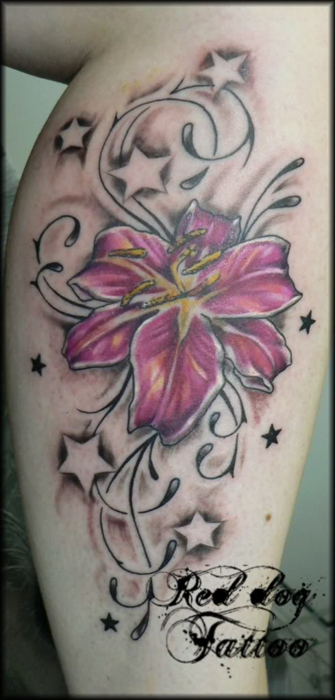 Lily Flower with Star Tattoo Design